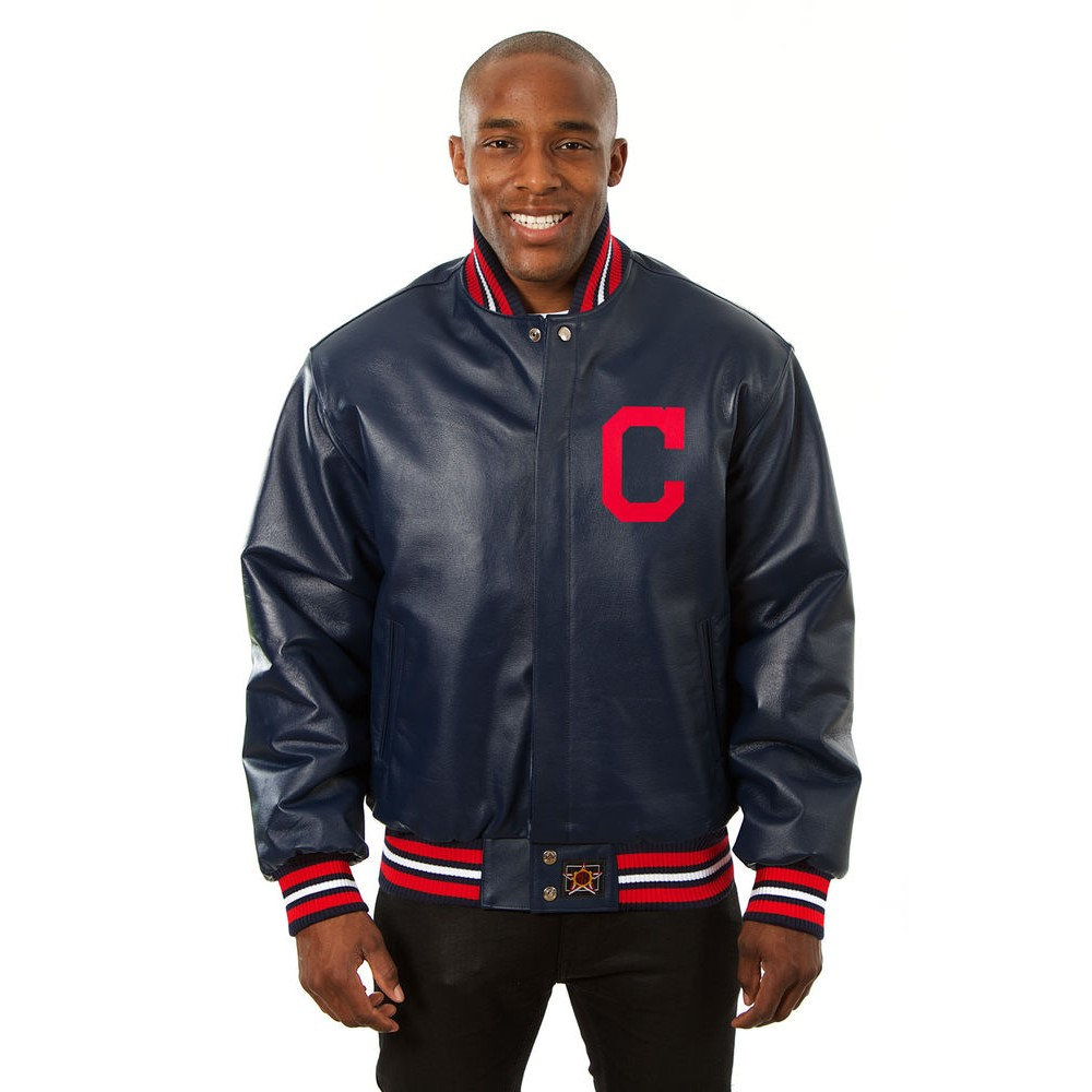 JH デザイン JH Design メンズ アウター レザージャケット【Cleveland Indians Adult Leather Jacket】Navy