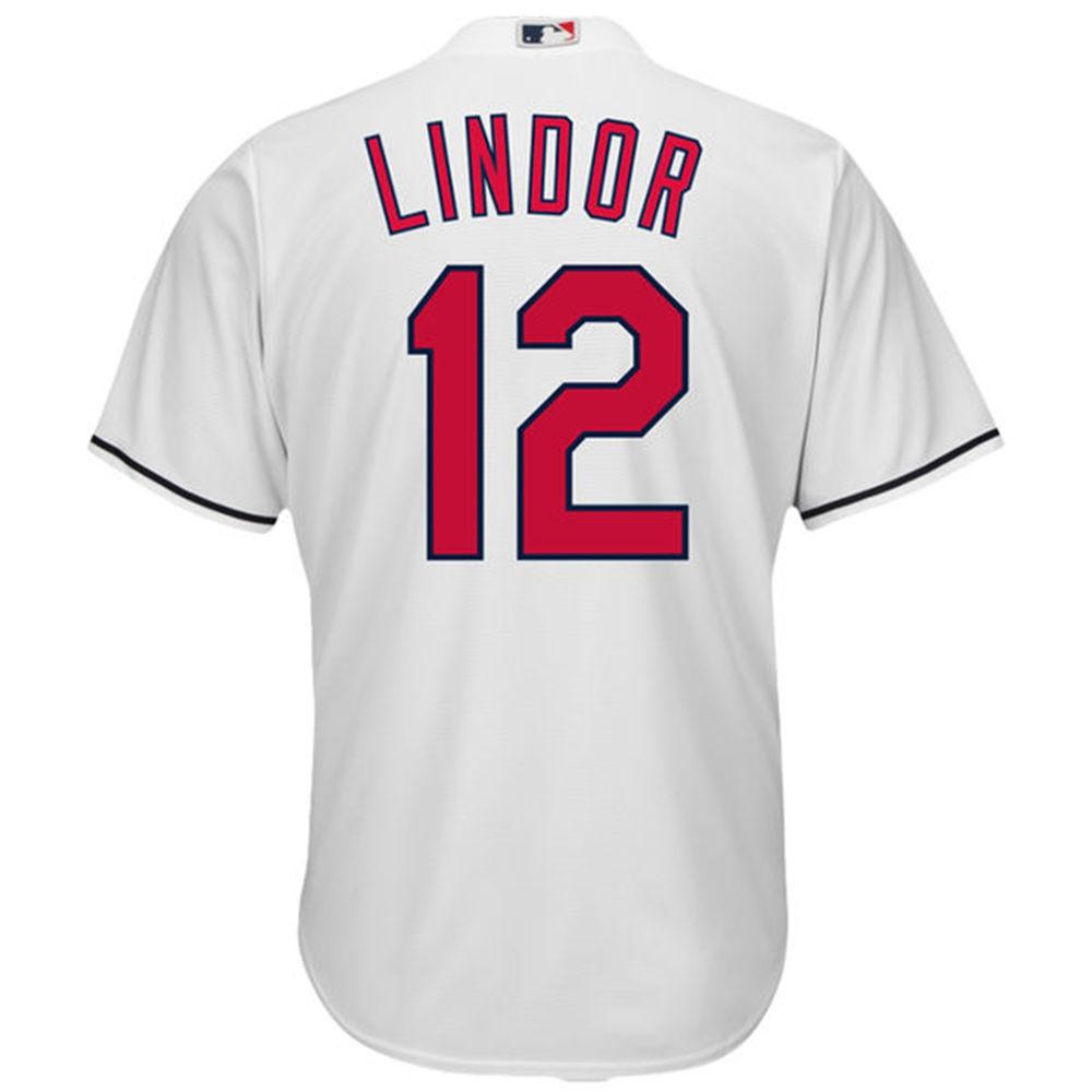 マジェスティック Majestic メンズ トップス【Cleveland Indians Adult Francisco Lindor Cool Base Jersey】White
