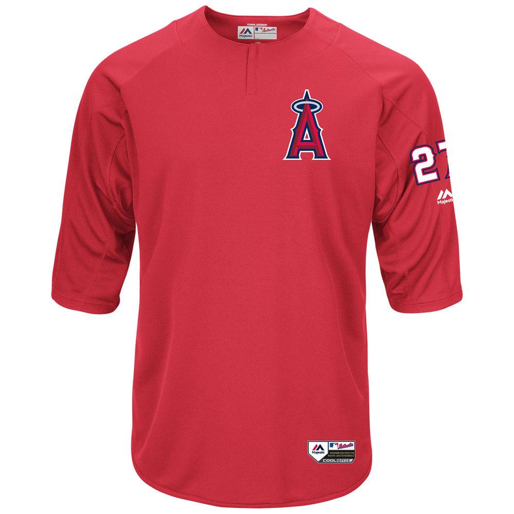 マジェスティック Majestic メンズ トップス【Los Angeles Angels of Anaheim Adult Mike Trout Authentic Collection On-Field 3/4-Sleeve Batting Practice Jersey】Scarlet