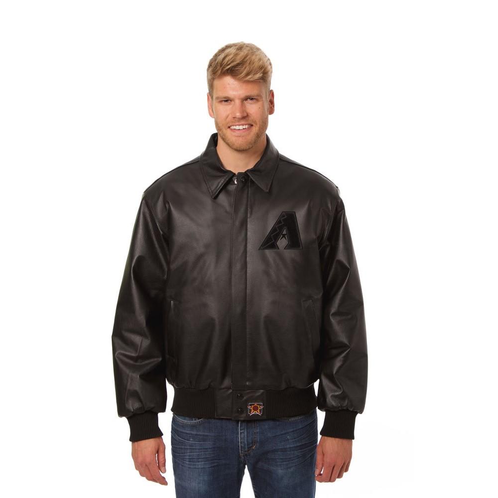 JH デザイン JH Design メンズ アウター レザージャケット【Arizona Diamondbacks Adult Leather Jacket】Black/Black