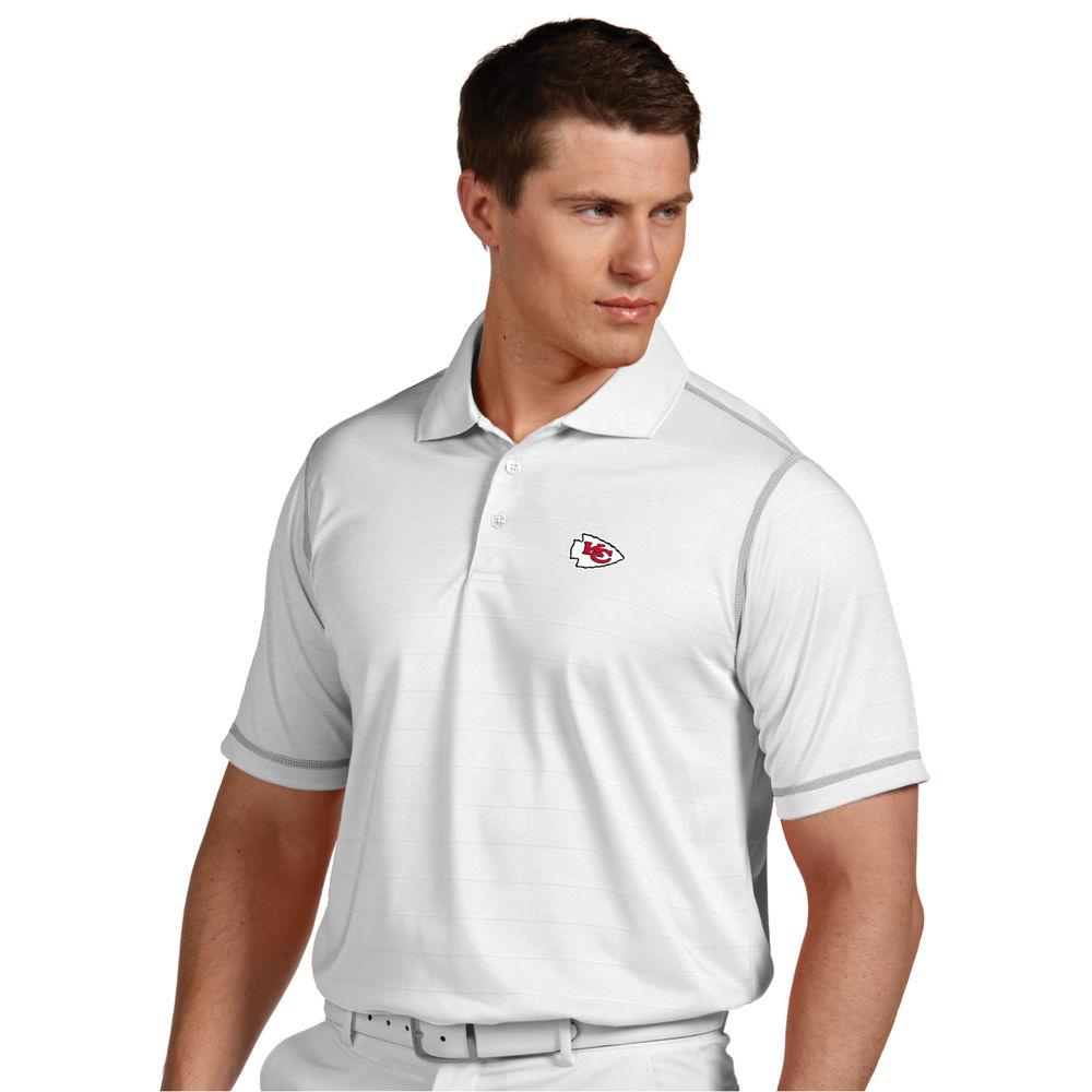 アンティグア Antigua メンズ トップス ポロシャツ【Kansas City Chiefs Icon Stripe Short Sleeve Polo】White/Silver