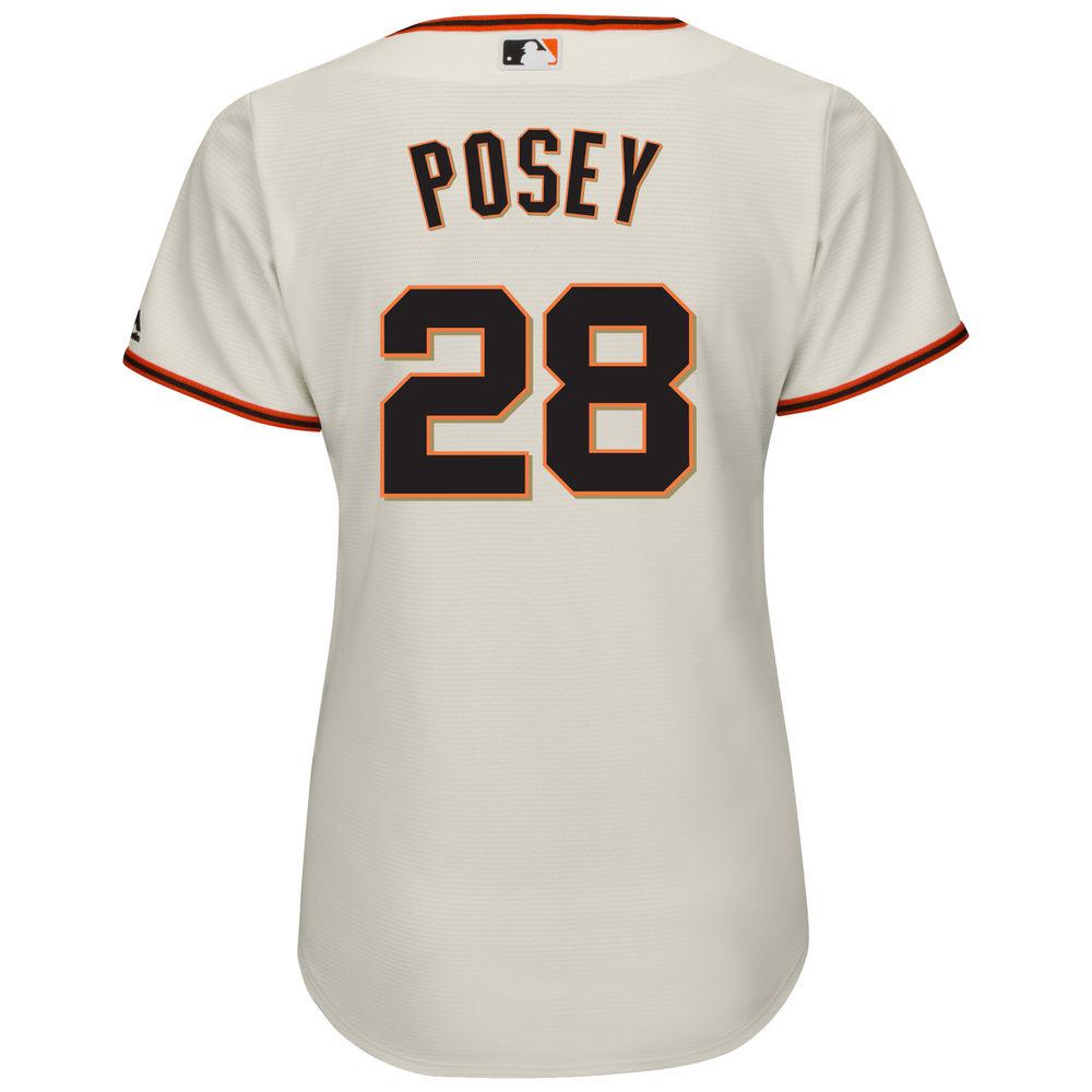 マジェスティック Majestic レディース トップス【San Francisco Giants Buster Posey Cool Base Replica Jersey】Ivory