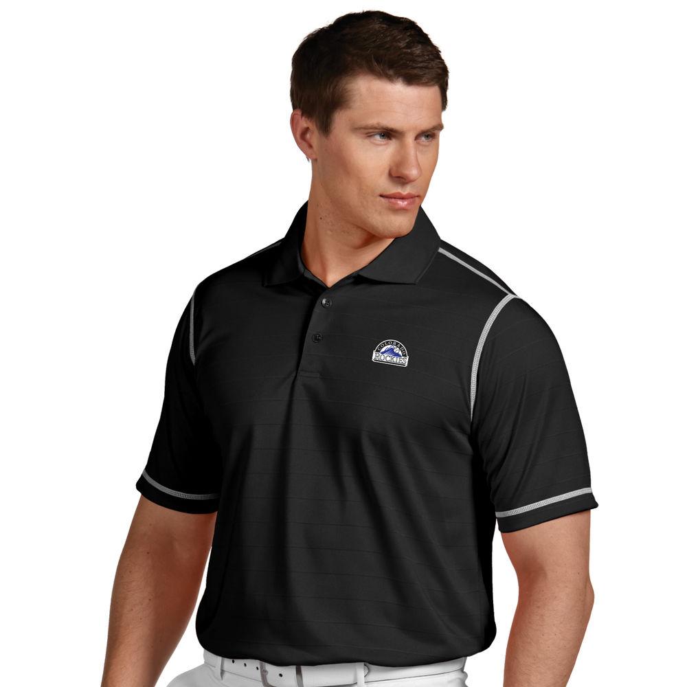 アンティグア Antigua メンズ トップス ポロシャツ【Colorado Rockies Icon Pique Tonal Striped Short Sleeved Polo】Black