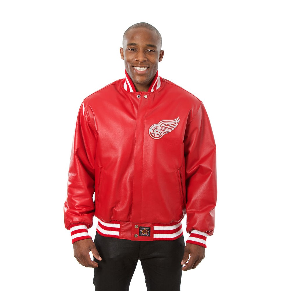 JH デザイン JH Design メンズ アウター レザージャケット【Detroit Red Wings Adult Leather Jacket】Red