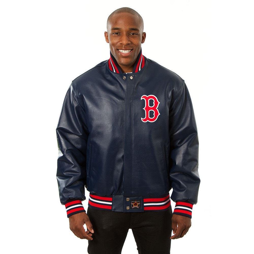 JH デザイン JH Design メンズ アウター レザージャケット【Boston Red Sox Adult Leather Jacket】Navy