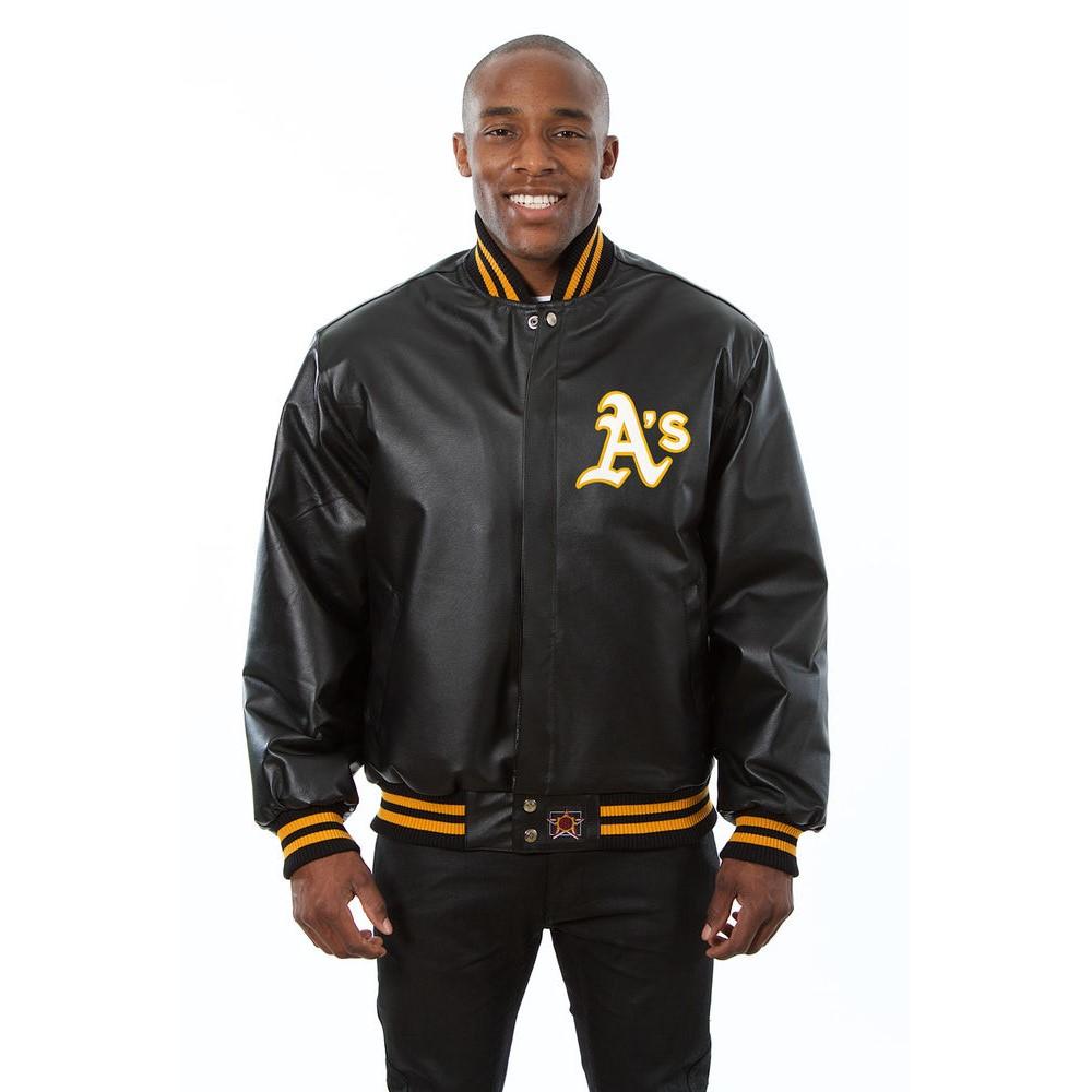JH デザイン JH Design メンズ アウター レザージャケット【Oakland Athletics Adult Leather Jacket】Black