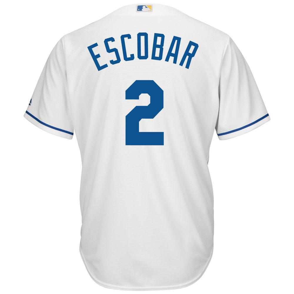 マジェスティック Majestic メンズ トップス【Kansas City Royals Alcides Escobar Adult Cool Base Replica Jersey】White