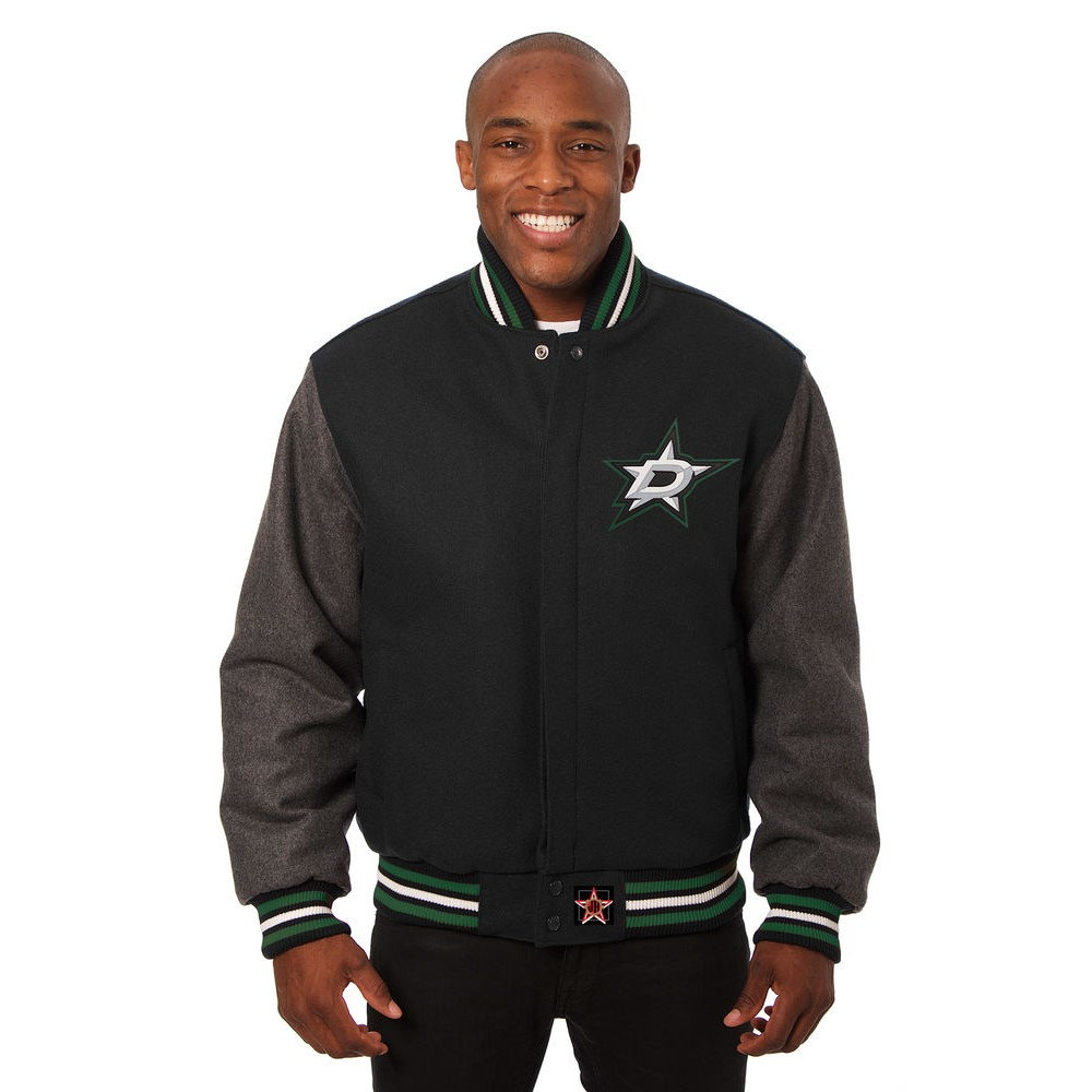 JH デザイン JH Design メンズ アウター ジャケット【Dallas Stars Adult Wool Jacket】Black/Grey