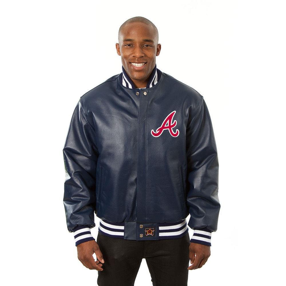 JH デザイン JH Design メンズ アウター レザージャケット【Atlanta Braves Adult Leather Jacket】Navy