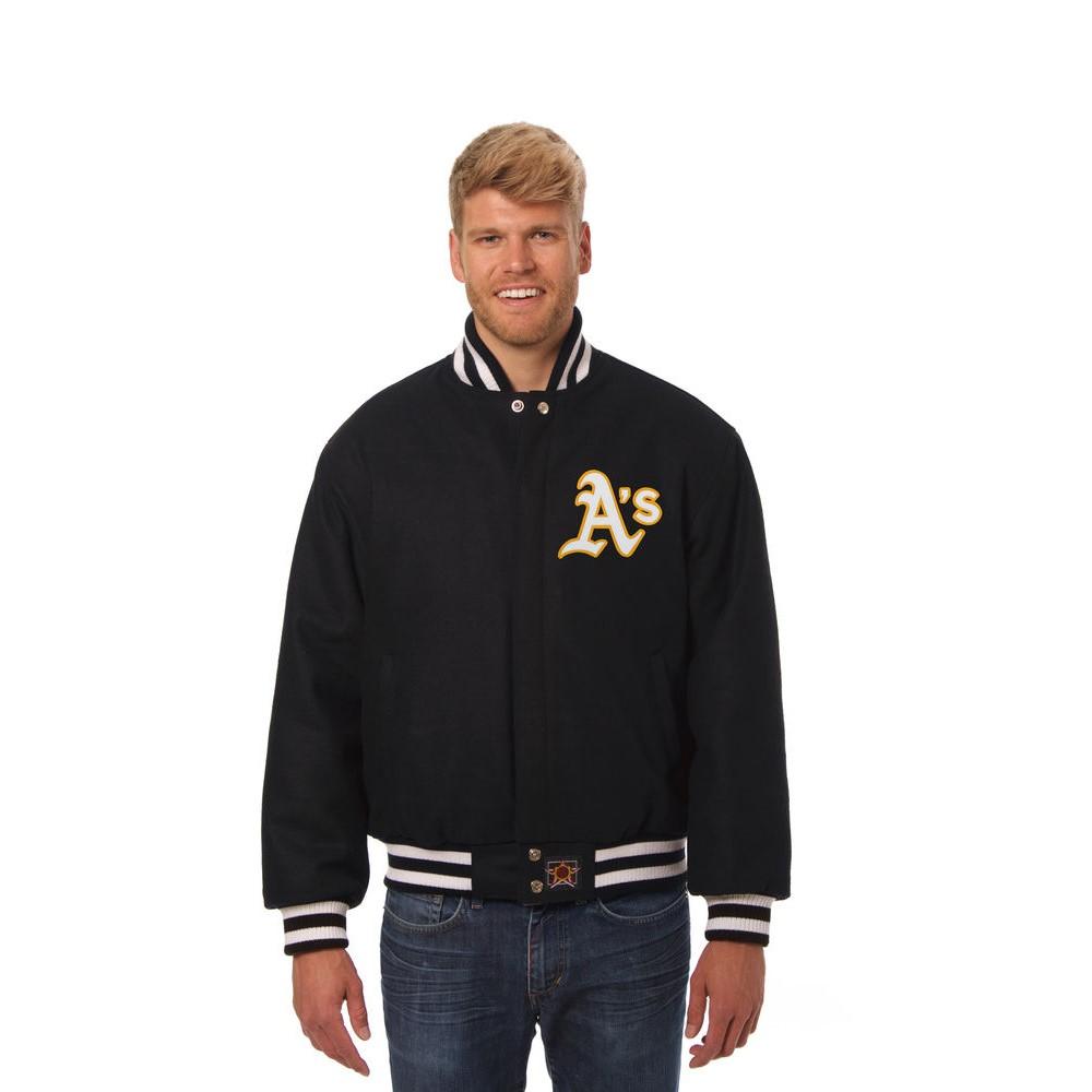 JH デザイン JH Design メンズ アウター ジャケット【Oakland Athletics Adult Wool Jacket】Black
