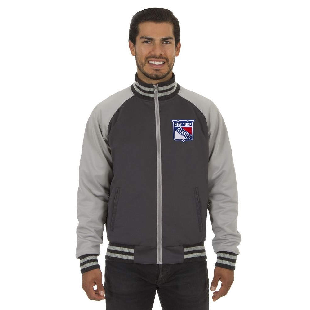 JH デザイン JH Design メンズ アウター ジャージ【New York Rangers Adult Polyester Reversible Track Jacket】Grey