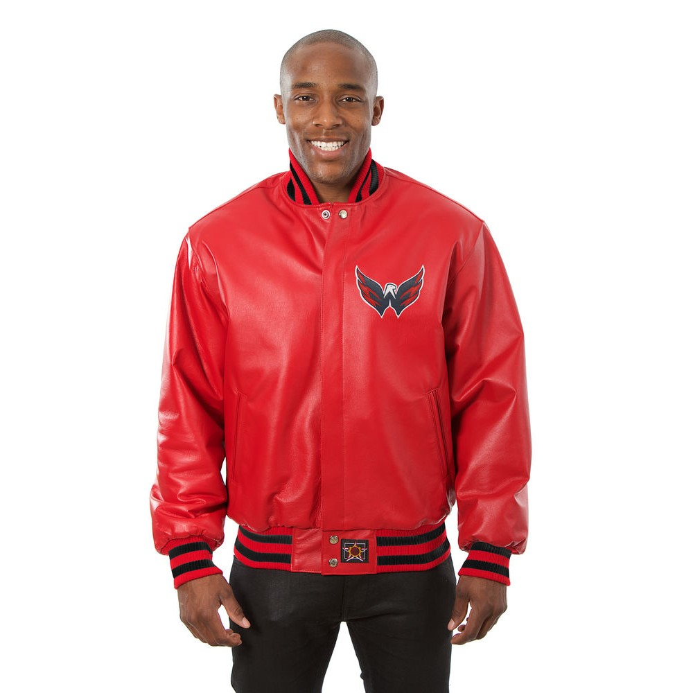 JH デザイン JH Design メンズ アウター レザージャケット【Washington Capitals Adult Leather Jacket】Red