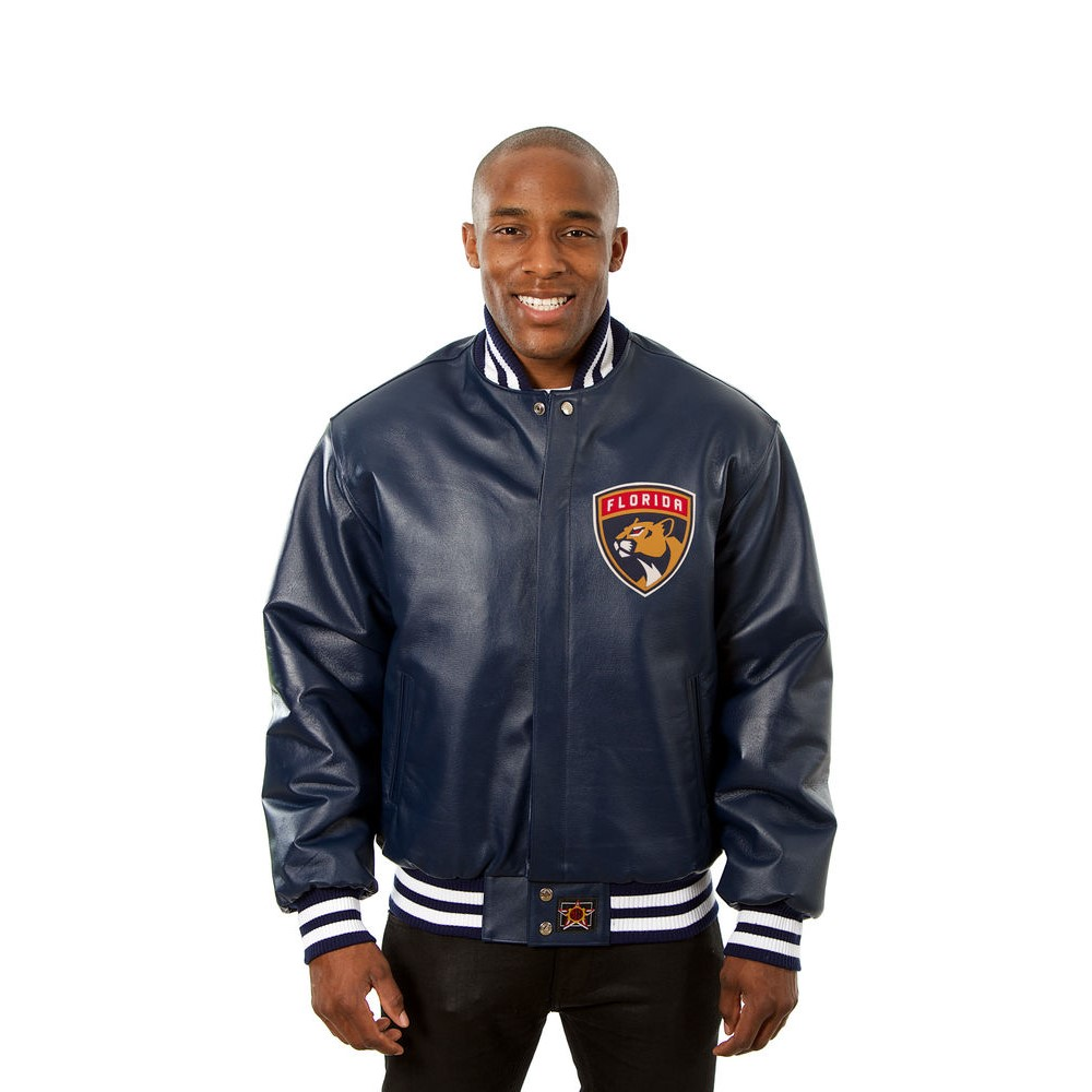 JH デザイン JH Design メンズ アウター レザージャケット【Florida Panthers Adult Leather Jacket】Navy