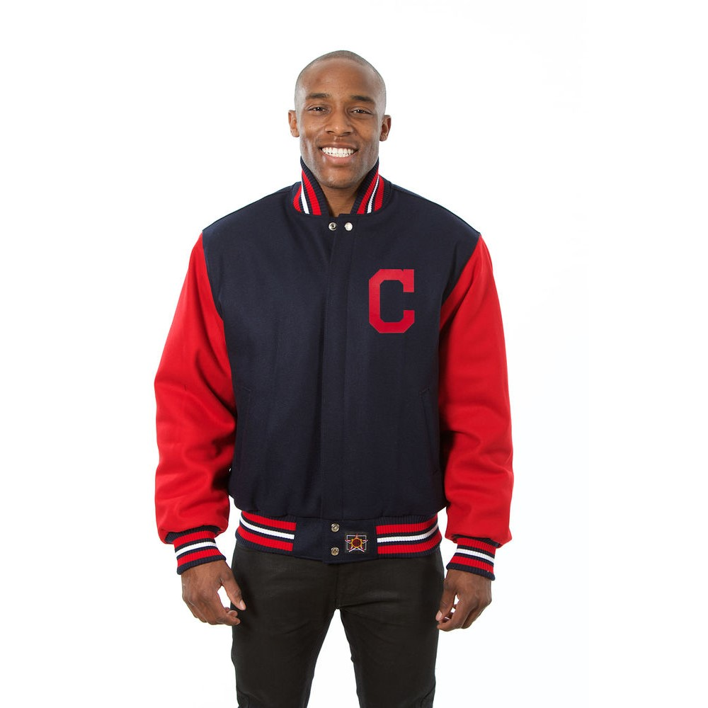 JH デザイン JH Design メンズ アウター ジャケット【Cleveland Indians Adult Wool Jacket】Blue/Red