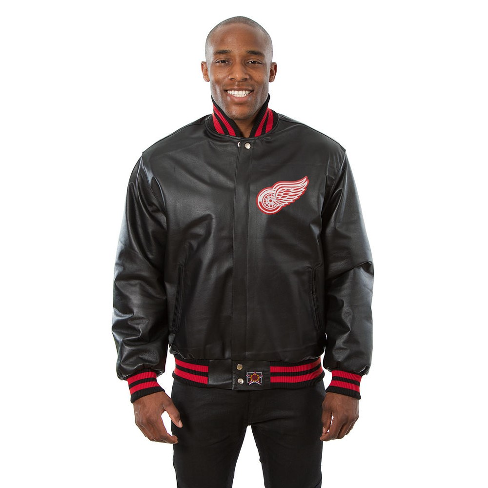 JH デザイン JH Design メンズ アウター レザージャケット【Detroit Red Wings Adult Leather Jacket】Black