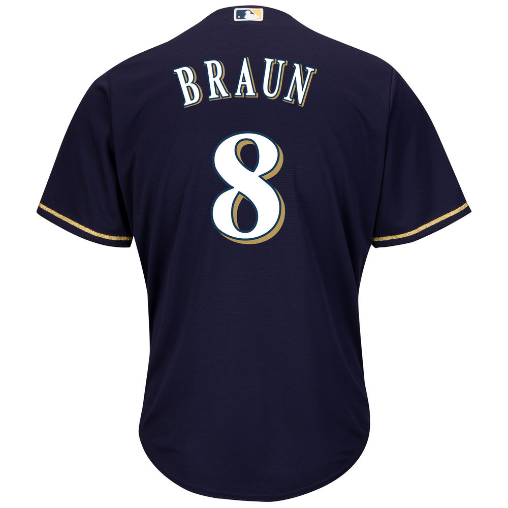 マジェスティック Majestic メンズ トップス【Milwaukee Brewers Ryan Braun Adult Cool Base Replica Jersey】Navy