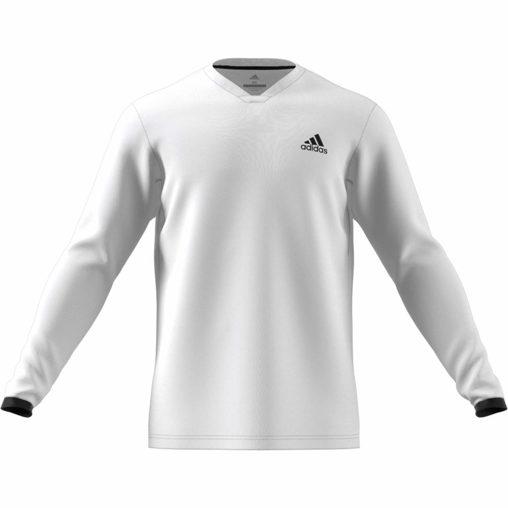 アディダス adidas メンズ テニス トップス【Club UV Protect Long Sleeve Tennis Tee】White