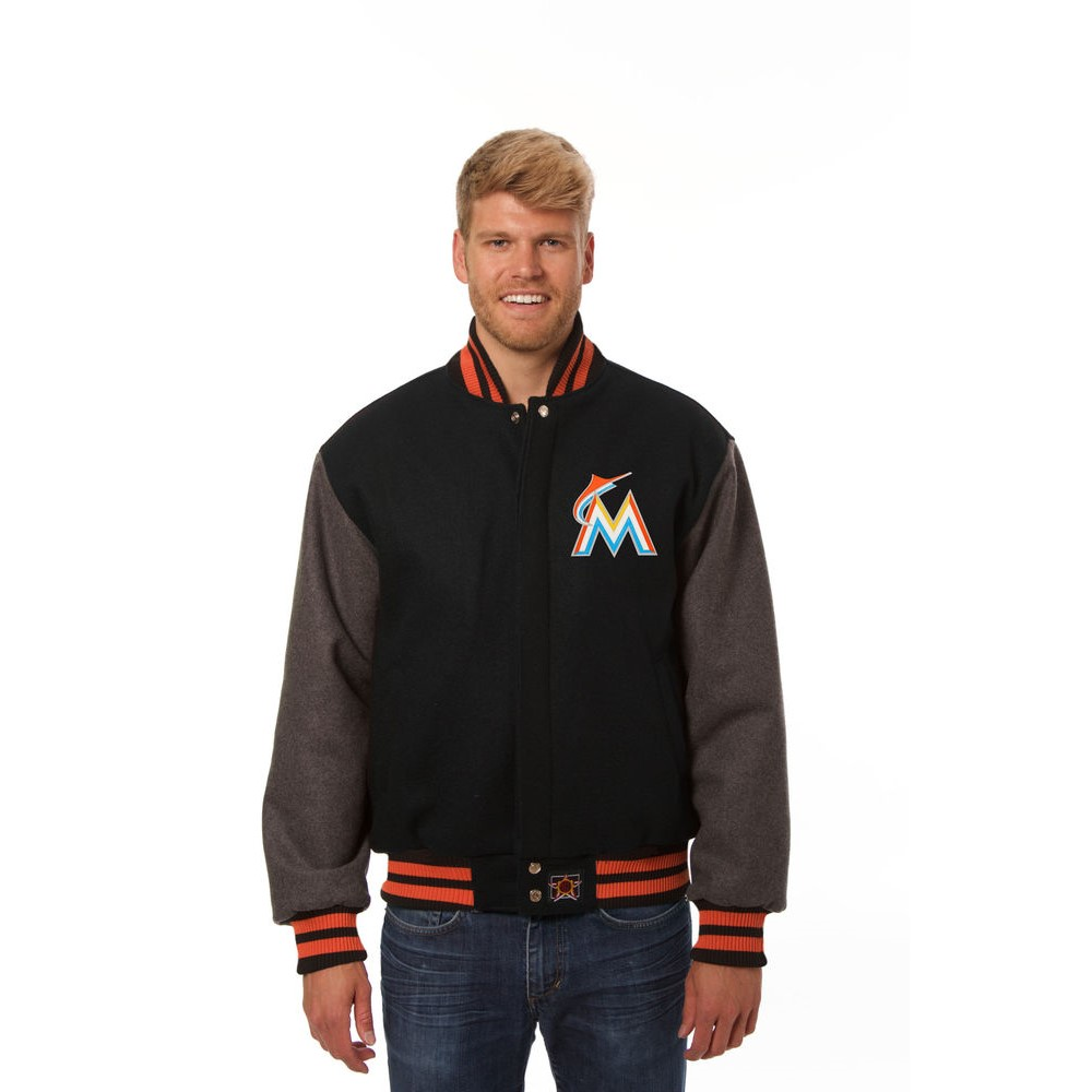 JH デザイン JH Design メンズ アウター ジャケット【Miami Marlins Adult Wool Jacket】Black/Grey