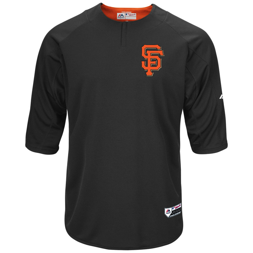マジェスティック Majestic メンズ トップス【San Francisco Giants Adult Authentic Collection On-Field 3/4-Sleeve Batting Practice Jersey】Black