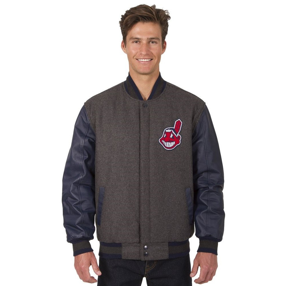 JH デザイン JH Design メンズ アウター レザージャケット【Cleveland Indians Adult Wool and Leather Reversible Jacket】Grey/Navy