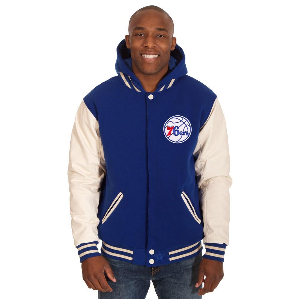 JH デザイン JH Design メンズ アウター ジャケット【Philadelphia 76ers Adult Reversible Fleece Hooded Varsity Jacket】Blue/Brown
