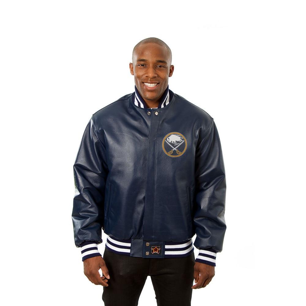 JH デザイン JH Design メンズ アウター レザージャケット【Buffalo Sabres Adult Leather Jacket】Navy