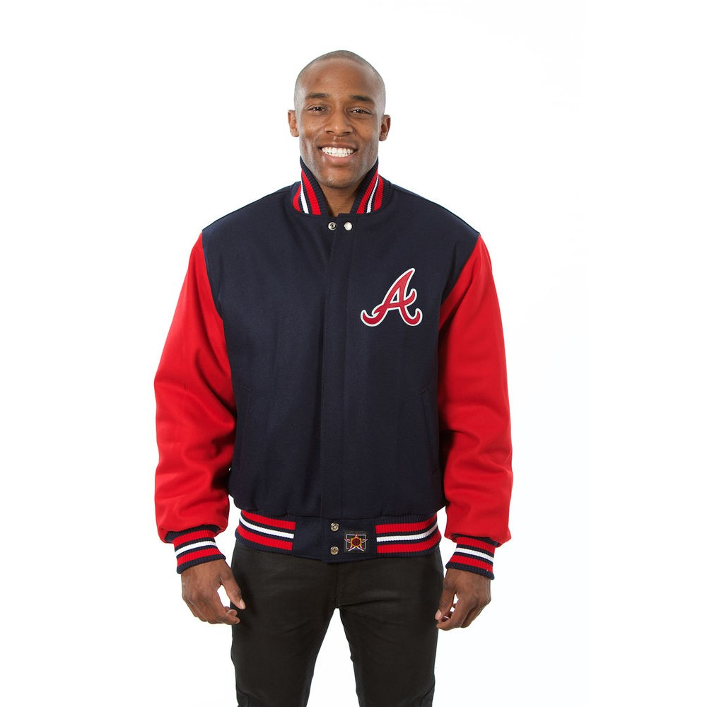 JH デザイン JH Design メンズ アウター ジャケット【Atlanta Braves Adult Wool Jacket】Blue/Red