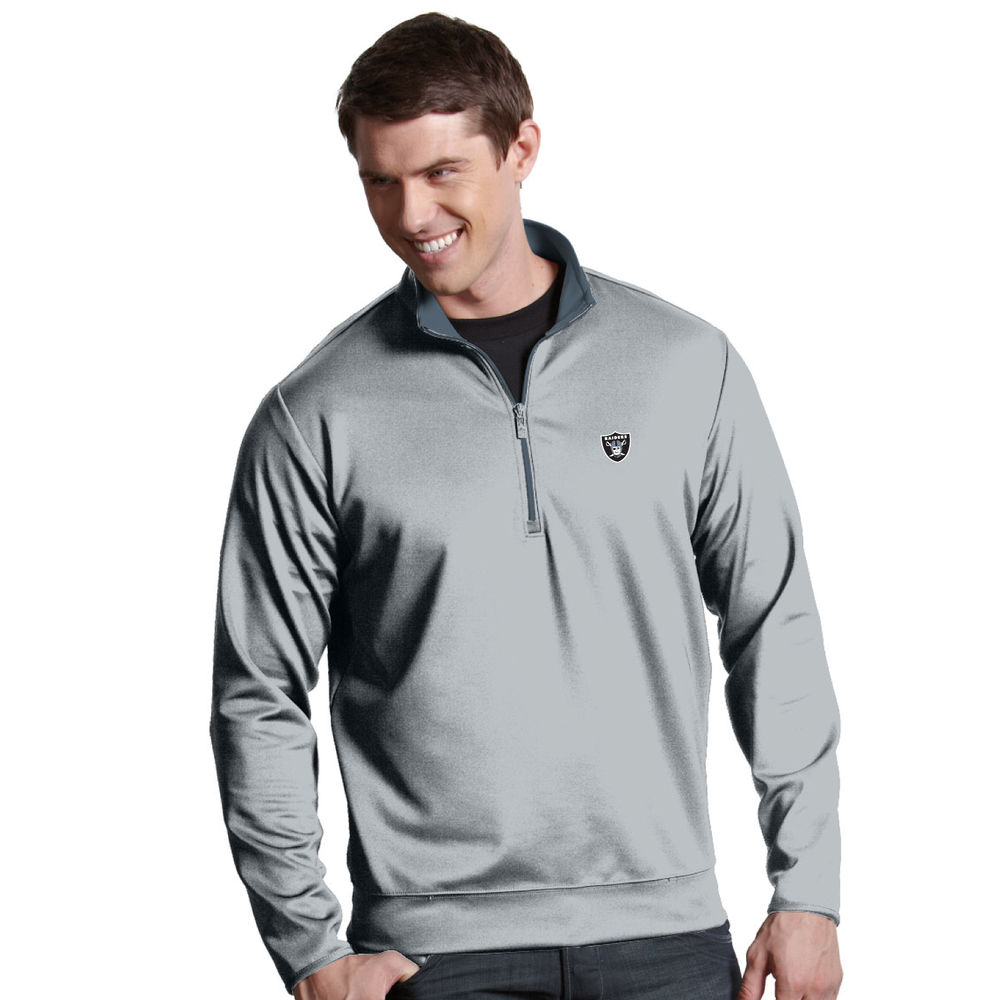 アンティグア Antigua メンズ トップス【Oakland Raiders Leader Quarter Zip Pullover】Steel