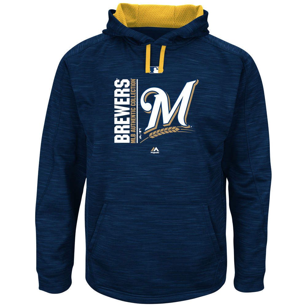マジェスティック Majestic メンズ トップス フリース【Milwaukee Brewers Big Authentic Collection Icon Streak Fleece Hoodie (Big & Tall)】Navy