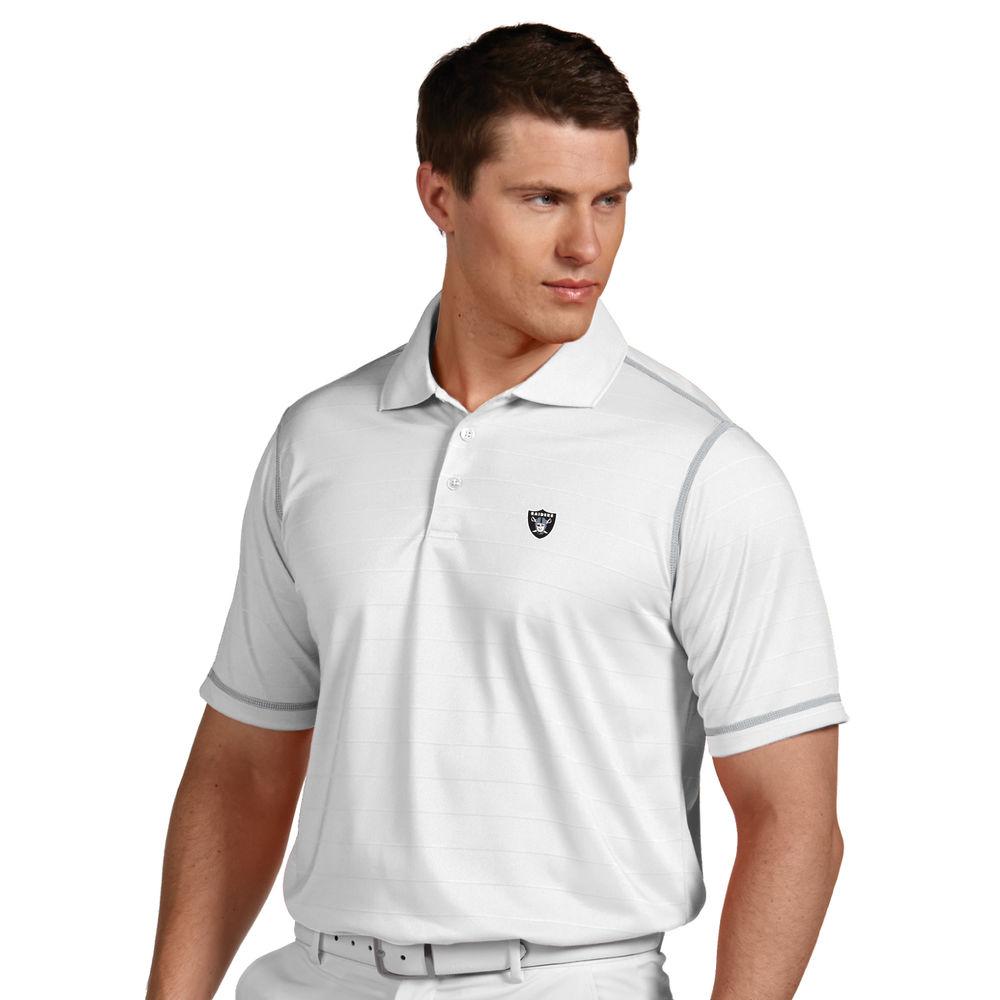 アンティグア Antigua メンズ トップス ポロシャツ【Oakland Raiders Icon Stripe Short Sleeve Polo】White/Silver