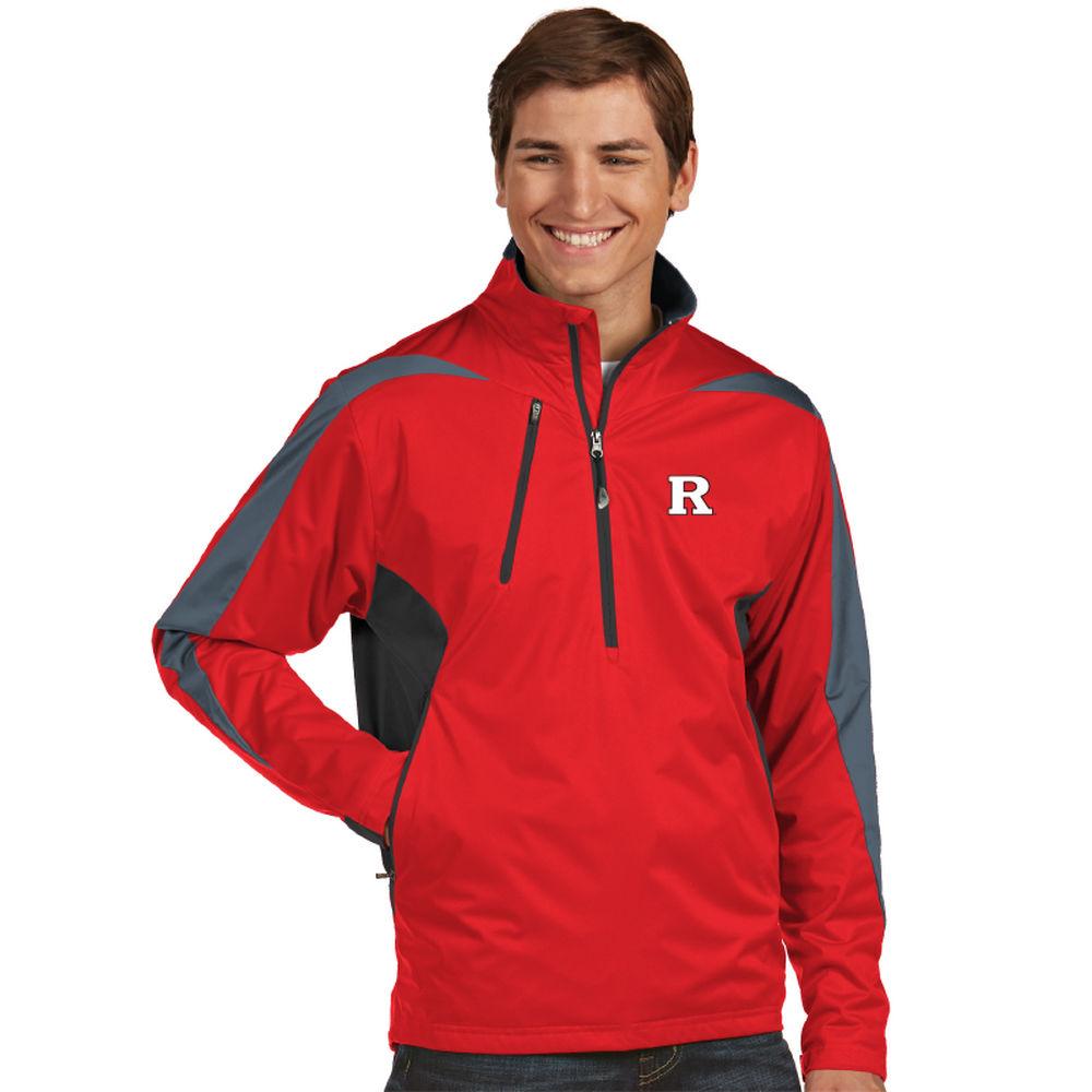 アンティグア Antigua メンズ トップス【Rutgers Scarlet Knights Discover Water Resistant 1/2 Zip Pullover】Red/Grey