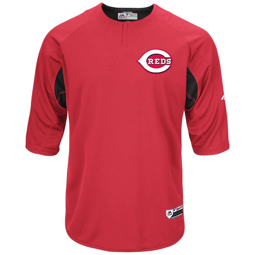 マジェスティック Majestic メンズ トップス【Cincinnati Reds Adult Authentic Collection On-Field 3/4-Sleeve Batting Practice Jersey】Scarlet