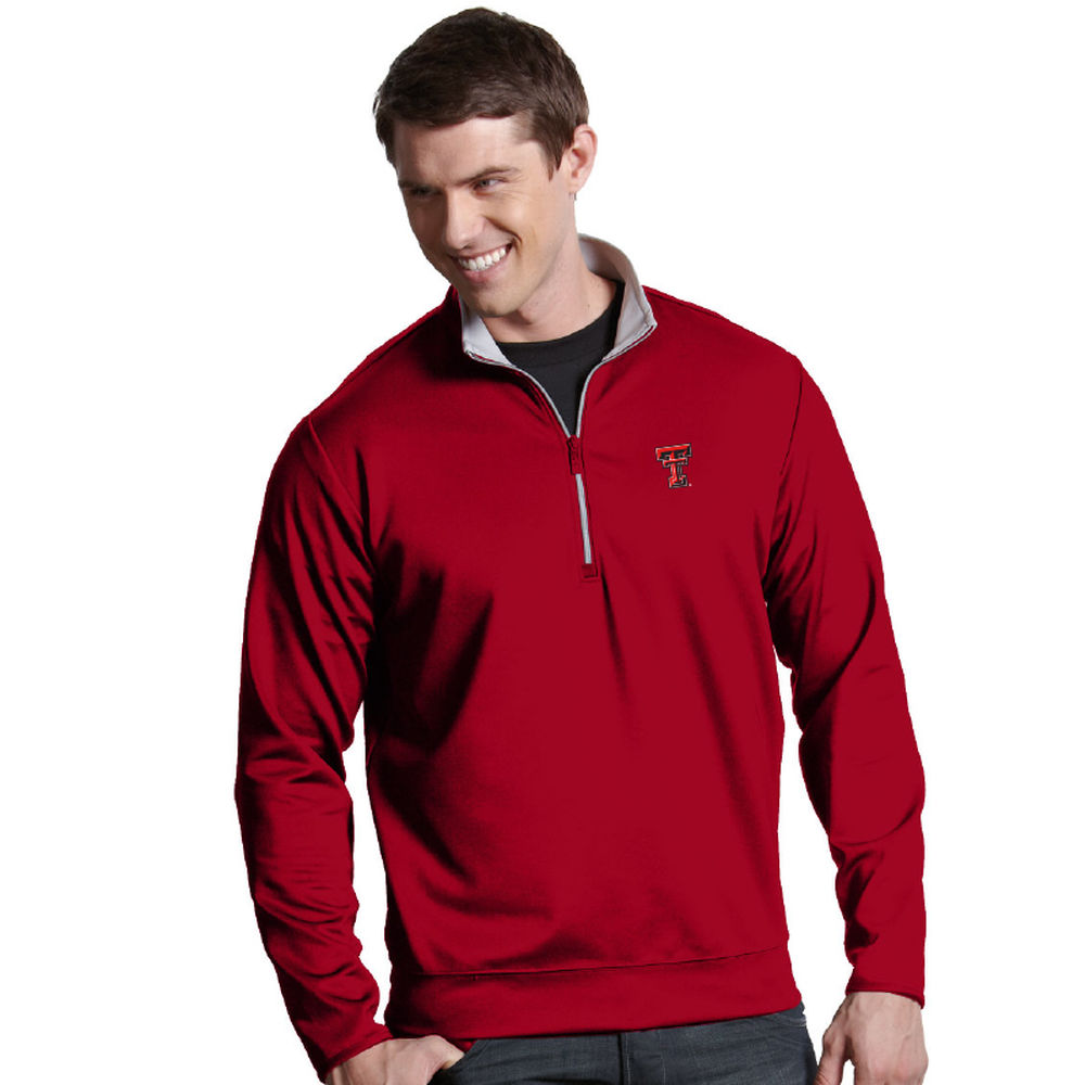 アンティグア Antigua メンズ トップス【Texas Tech Red Raiders Leader Quarter Zip Pullover】Dark Red