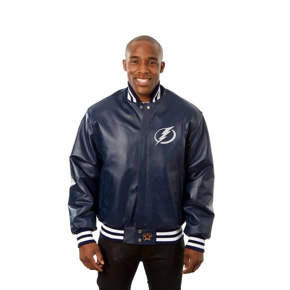 JH デザイン JH Design メンズ アウター レザージャケット【Tampa Bay Lightning Adult Leather Jacket】Navy