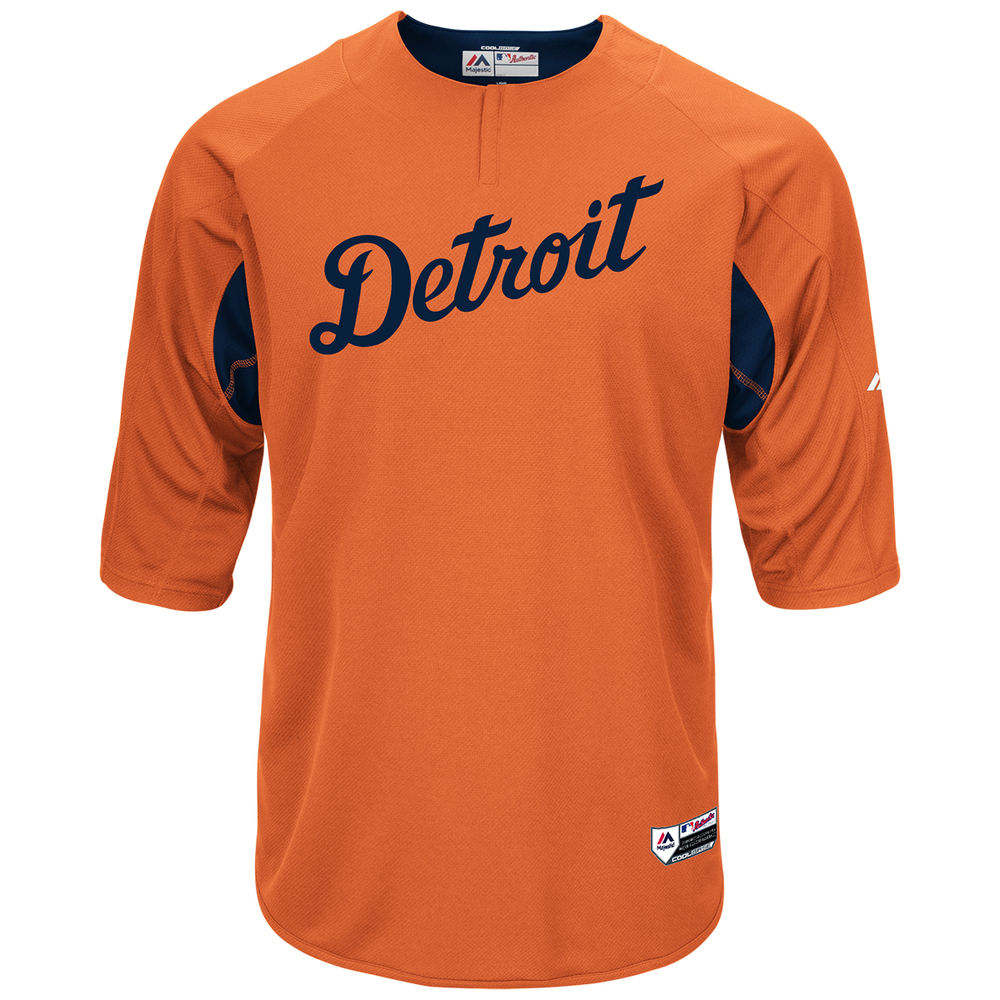 マジェスティック Majestic メンズ トップス【Detroit Tigers Adult Authentic Collection On-Field 3/4-Sleeve Batting Practice Jersey】Orange