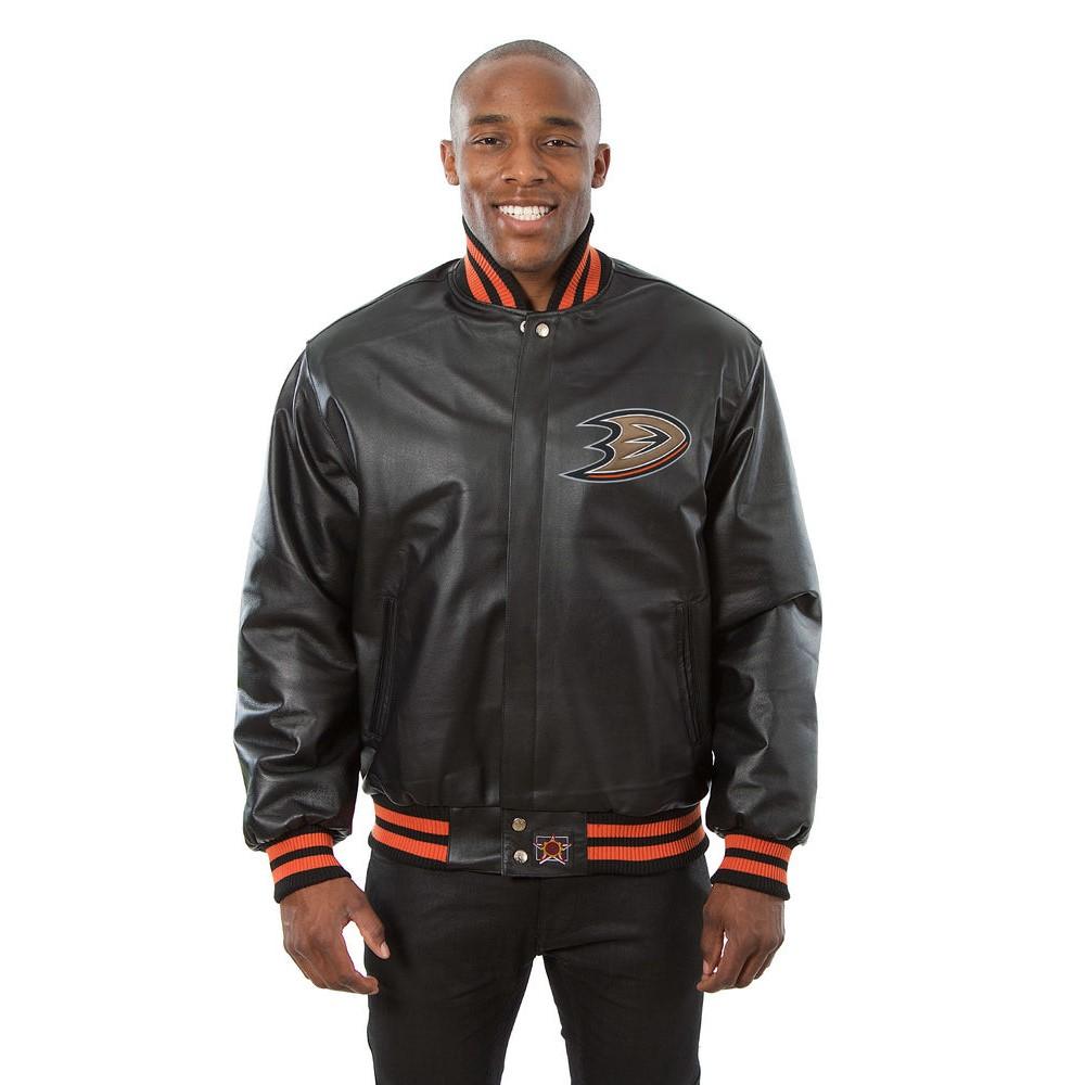 JH デザイン JH Design メンズ アウター レザージャケット【Anaheim Ducks Adult Leather Jacket】Black