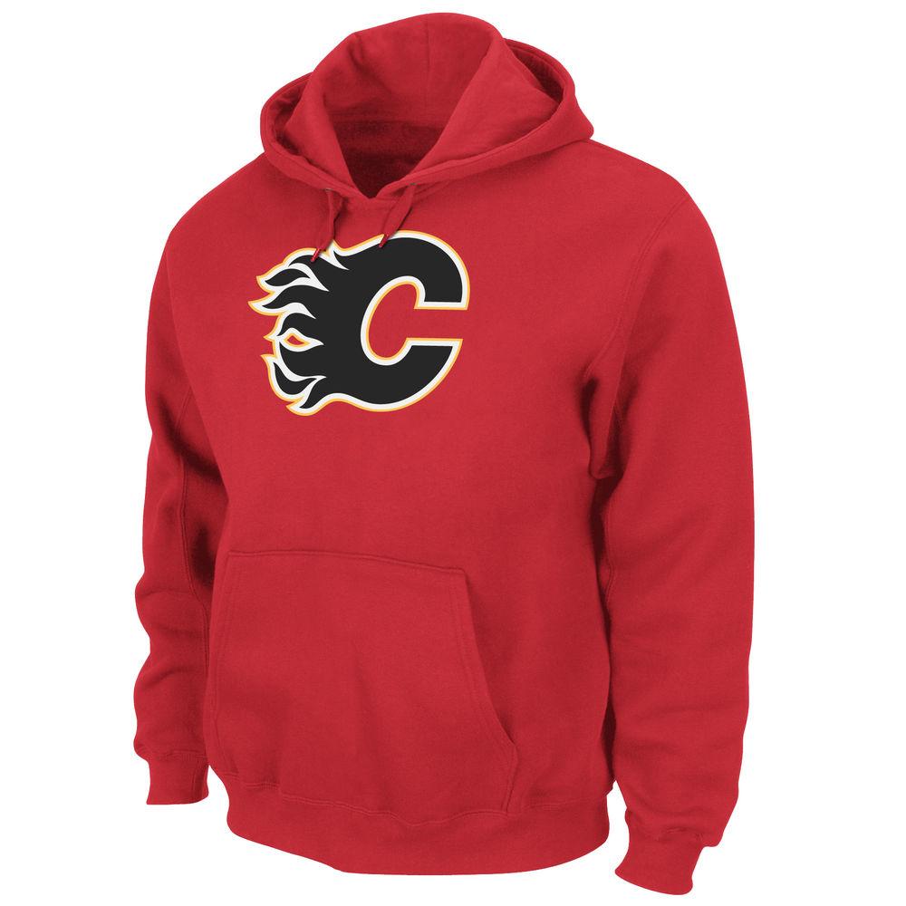 マジェスティック Majestic メンズ トップス フリース【Calgary Flames Adult Hooded Fleece Pullover】Red
