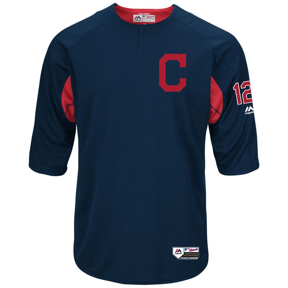 マジェスティック Majestic メンズ トップス【Cleveland Indians Adult Francisco Lindor Authentic Collection On-Field 3/4-Sleeve Batting Practice Jersey】Navy