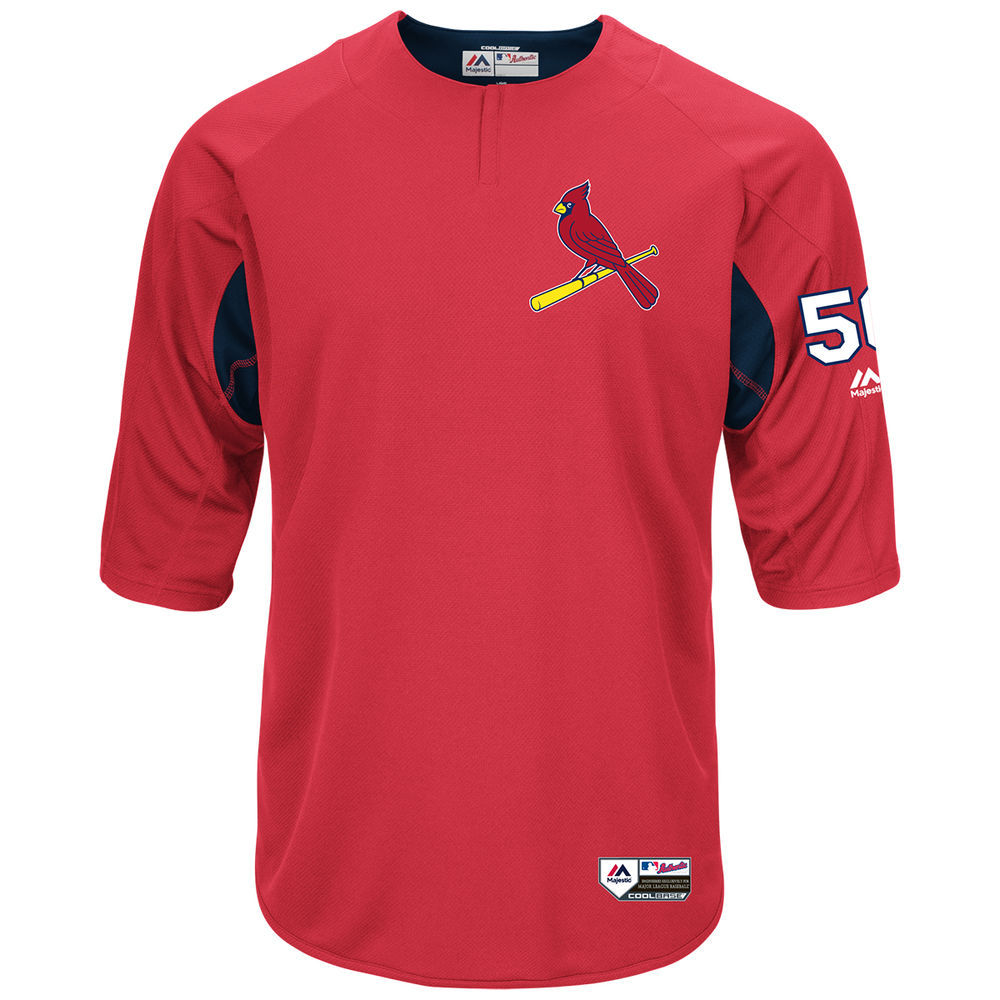 マジェスティック Majestic メンズ トップス【St. Louis Cardinals Adult Adam Wainwright Authentic Collection On-Field 3/4-Sleeve Batting Practice Jersey】Scarlet