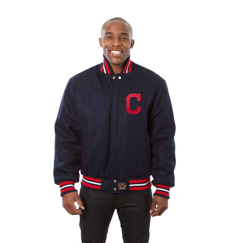JH デザイン JH Design メンズ アウター ジャケット【Cleveland Indians Adult Wool Jacket】Navy