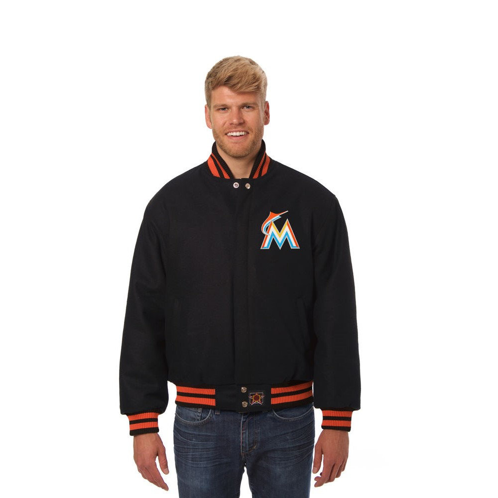 JH デザイン JH Design メンズ アウター ジャケット【Miami Marlins Adult Wool Jacket】Black