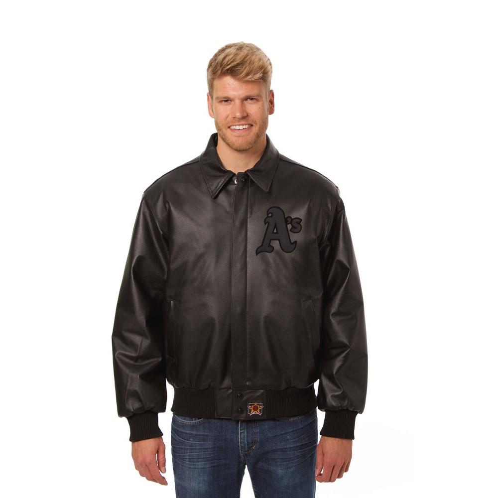 JH デザイン JH Design メンズ アウター レザージャケット【Oakland Athletics Adult Leather Jacket】Black/Black