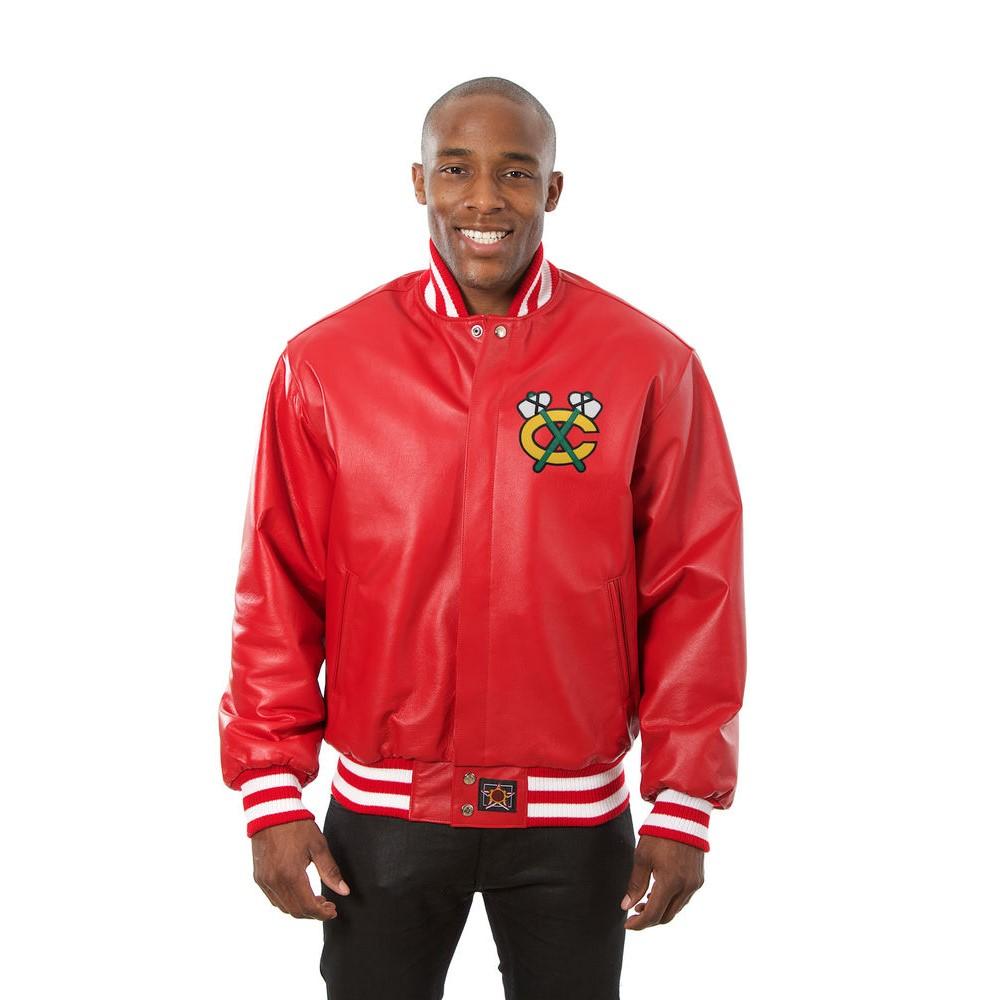 JH デザイン JH Design メンズ アウター レザージャケット【Chicago Blackhawks Adult Leather Jacket】Red
