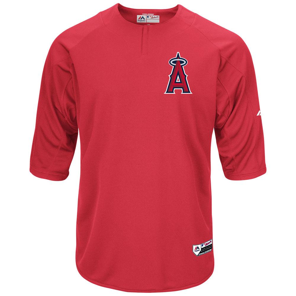 マジェスティック Majestic メンズ トップス【Los Angeles Angels of Anaheim Adult Authentic Collection On-Field 3/4-Sleeve Batting Practice Jersey】Scarlet
