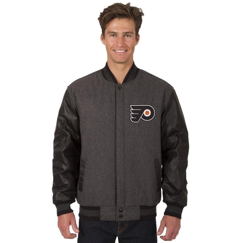 JH デザイン JH Design メンズ アウター レザージャケット【Philadelphia Flyers Adult Wool and Leather Reversible Jacket】Grey/Black