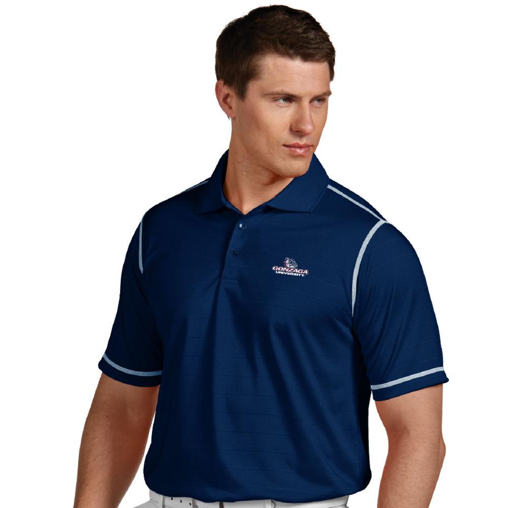 アンティグア Antigua メンズ トップス ポロシャツ【Gonzaga Bulldogs Icon Striped Polo】Navy/White