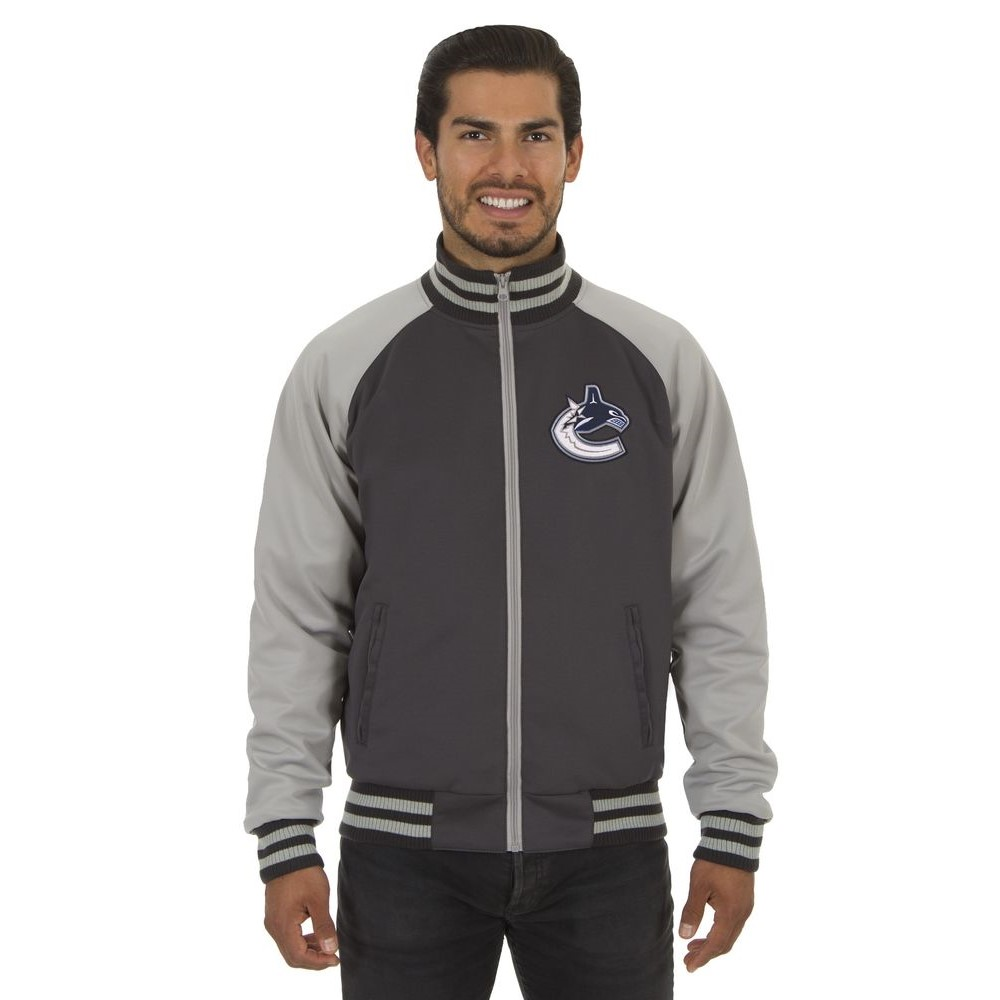 JH デザイン JH Design メンズ アウター ジャージ【Vancouver Canucks Adult Polyester Reversible Track Jacket】Grey