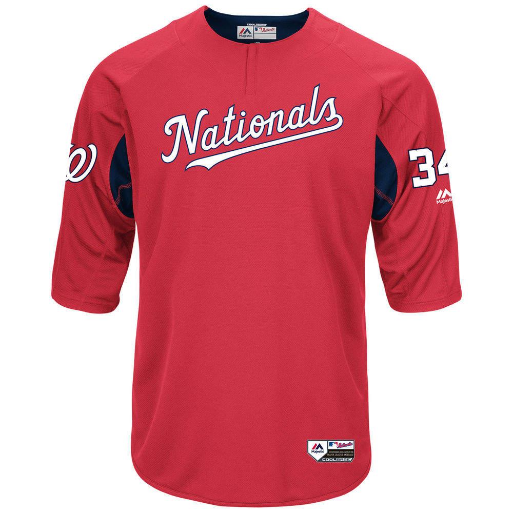 マジェスティック Majestic メンズ トップス【Washington Nationals Adult Bryce Harper Authentic Collection On-Field 3/4-Sleeve Batting Practice Jersey】Scarlet