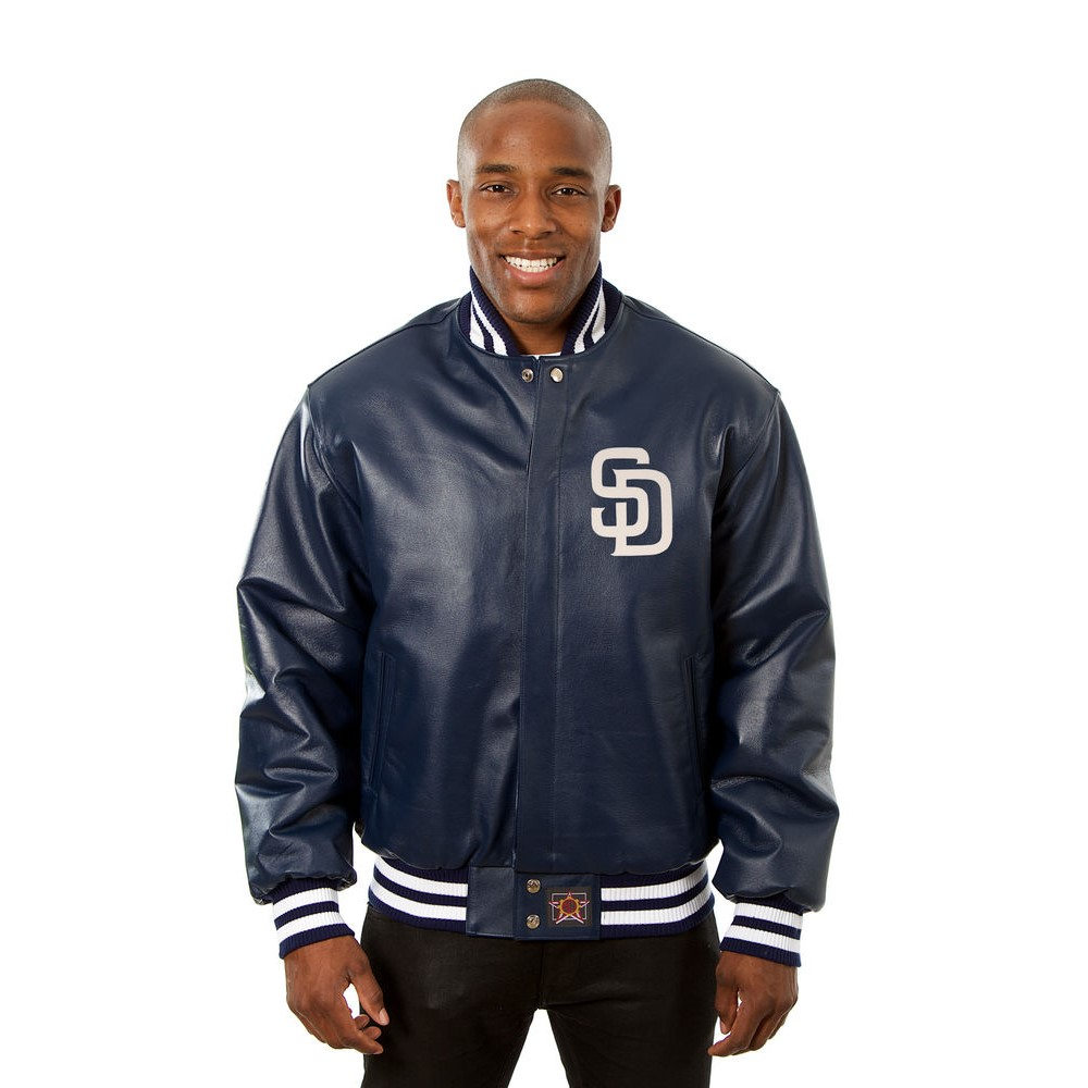 JH デザイン JH Design メンズ アウター レザージャケット【San Diego Padres Adult Leather Jacket】Navy