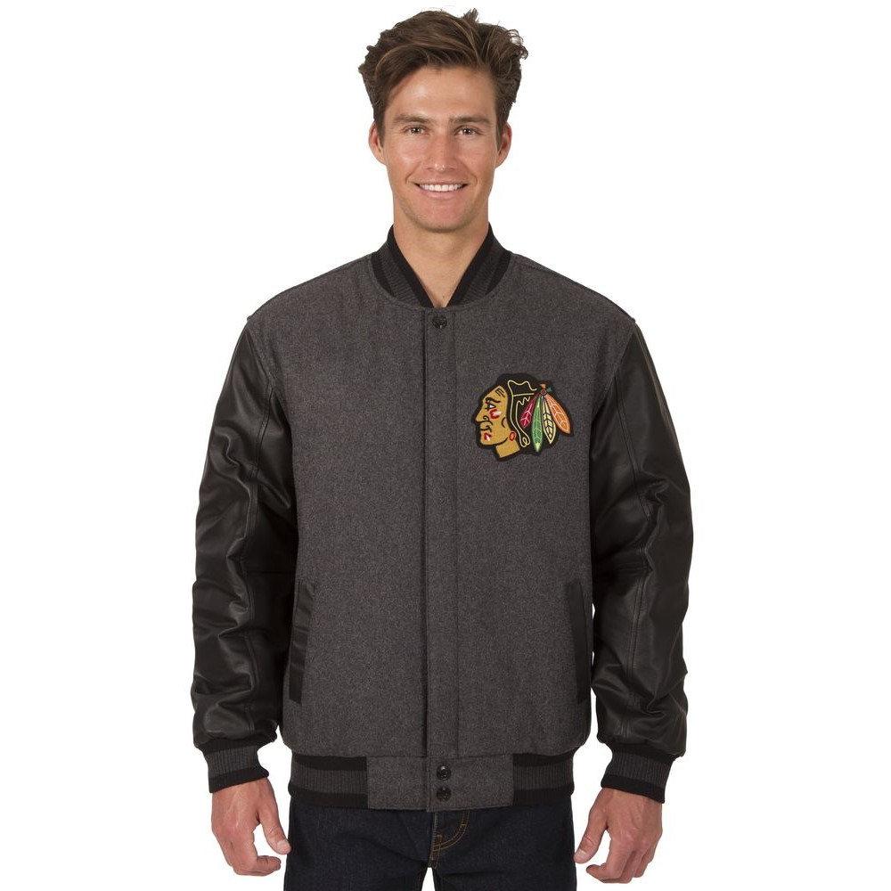 JH デザイン JH Design メンズ アウター レザージャケット【Chicago Blackhawks Adult Wool and Leather Reversible Jacket】Grey/Black